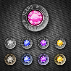 Set of metal buttons with simulated diamond