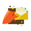 Man holding an envelope with a letter. Flat design modern vector