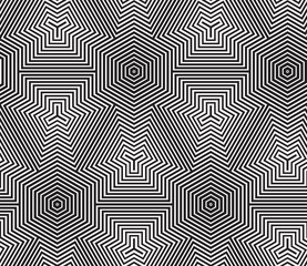 Black and White Op Art Design Vector Seamless Pattern Background