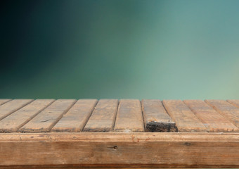 rotten table with retro green background