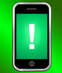 Exclamation Mark On Phone Shows Attention Warning