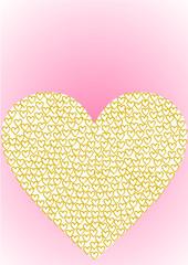 Herz gefüllt mit goldenen Herzen auf rosa Verlauf