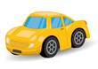 Yellow Sports Car Cartoon - Vector Illustration