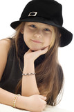 little cute girl in black hat