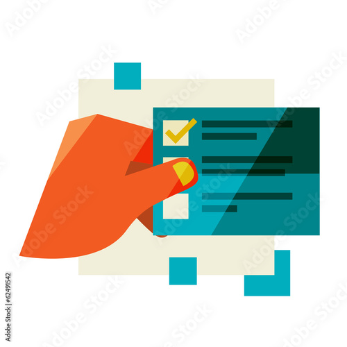Flat design modern vector illustration stylish colors of hand