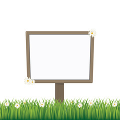 blank sign board daisy meadow isolated