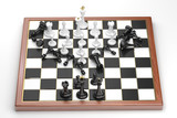 Rush of white chess figures