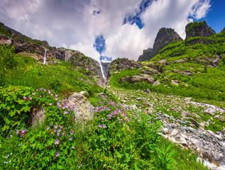 Waterfall in the summer mountains. Upper Svaneti, Georgia, Europ
