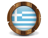 Greece wood button