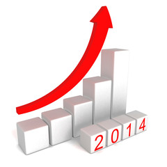 2014 year numbers with growing concept arrow bar graph