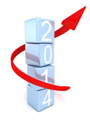year 2014 blue blocks tower and red arrow growth up