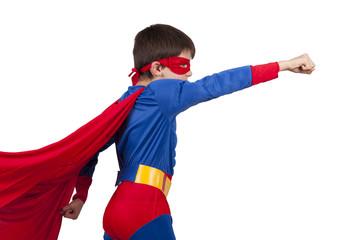 child superman costume isolated on white background