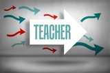 Teacher against arrows pointing