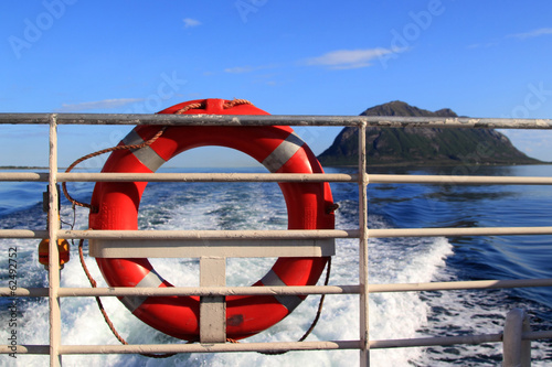 Life buoy and arctic landscape