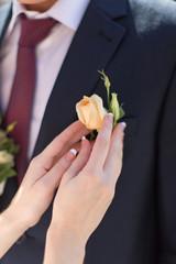 Hands of bride outdoors