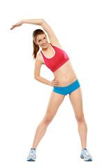 Frau Fitness Dehnen rot blau