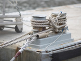 Mooring bitt wrapped rope