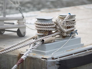 Mooring bitt wrapped rope