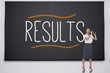Shocked businesswoman with binoculars against the word results