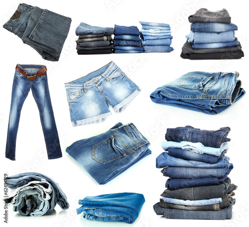 Jeans collage isolated on white