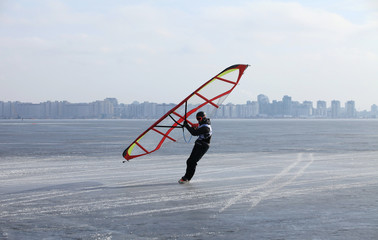 ice windsurfing on frozen sea