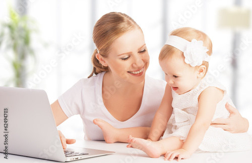mother and baby at home using laptop computer