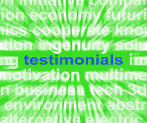 Testimonials Word Shows Supporting And Recommending Product Or S