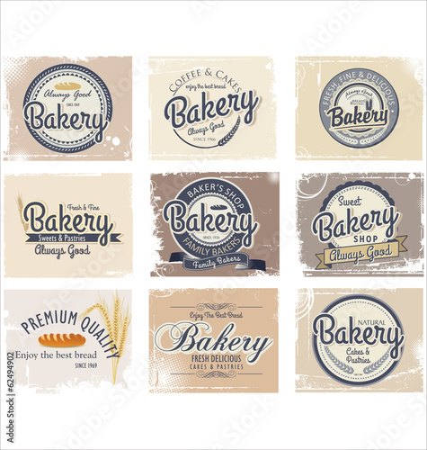Bakery retro badge and labels