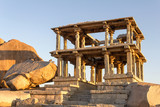 Ruins of ancient temple at sunset, Hampi, Karnataka, India