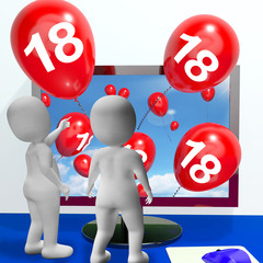 Number 18 Balloons from Monitor Show Online Invitation or Celebr