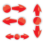 vector 3d red glossy glass arrows