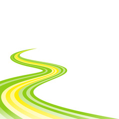 Abstract waving green yellow green ribbon flag