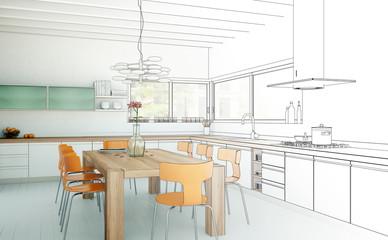 Plan moderne Küche