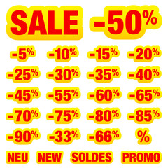 """Pricetag Collection """"Sale"""" Minus Red/Yellow"""