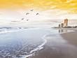 hotel en la playa de las olas de espuma