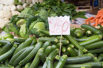 Zucchini on a market