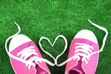 Beautiful gumshoes on green grass background