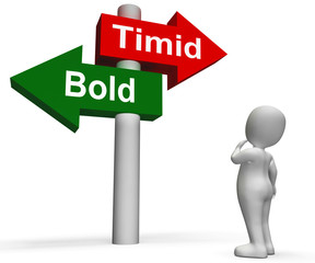 Timid Bold Signpost Means Fear Or Courage
