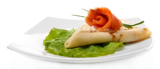 Pancake with salmon, and mayo, green onion,