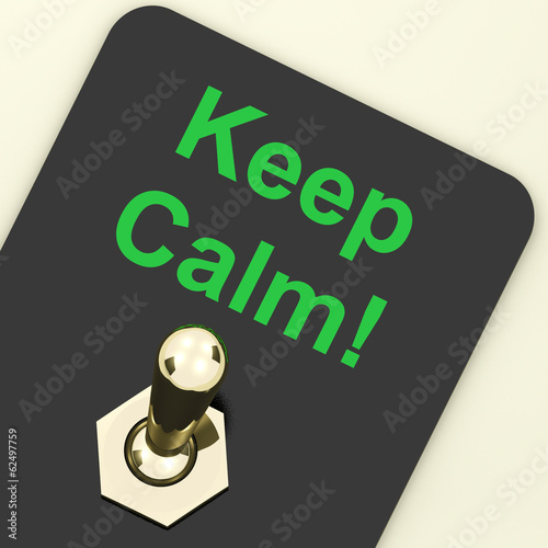 Keep Calm Switch Shows Keeping Calmness Tranquil And Relaxed