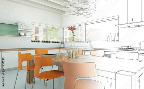 Zeichnung moderne Küche