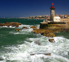 Lighthouse in Foz do Douro not far from Oporto
