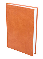 Orange book standing isolated