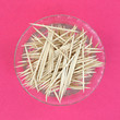Wooden Toothpicks Dish Pink Background