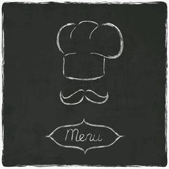 menu on old black board - vector illustration