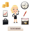 Businesswomans icons set