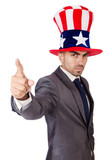 Angry man with american hat isolated on white