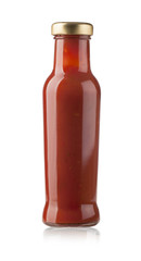 Glass jar of hot tomato sauce