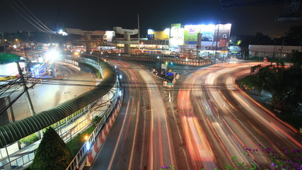 Traffic jam intersection, time lapse at night