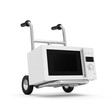 Metal Hand Truck with Microwave oven isolated on white